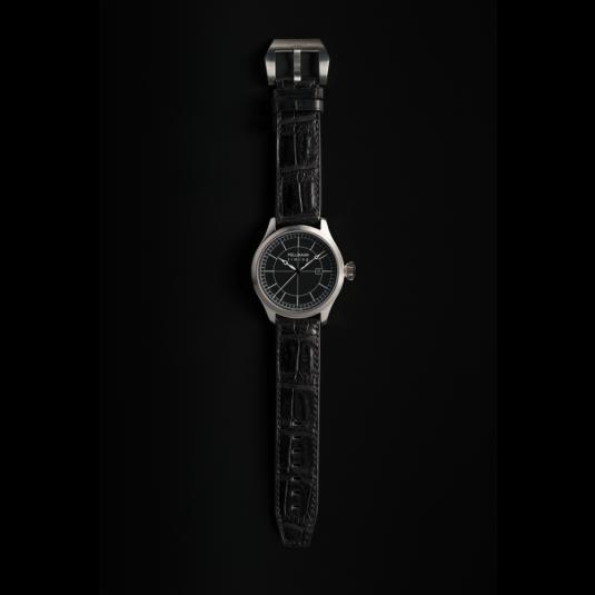 Pellikaan Timing Zwart Croco Leren Horloge Bandje